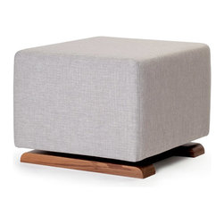 Monte Design - Monte Design Como Ottoman - Monte Design produces comfortable and well-crafted furnishings for the contemporary nursery and child's bedroom. The handcrafted Como ottoman lends sleek and relaxed style to a baby's room. Defined by clean lines, this ergonomic rest features a handsome glide walnut base and ultra-soft pebble gray or sand beige microsuede for sophisticated comfort. Made with FSC-certified walnut wood and water-repellant, OekoTex Standard 100, stain-resistant fabric. Gliding mechanism cannot be locked. Spot clean only.