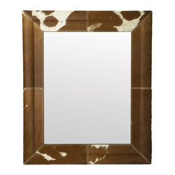 Lazy Susan Caramel Faux Pony Mirror - Cowhide is great for rugs and for mirrors too!