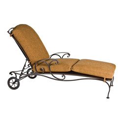 O.W. Lee - O.W. Lee Silana Wrought Iron Chaise Lounge - 1261-CH-SP11-GL02A - Shop for Chaise Lounges from Hayneedle.com! You might think there s nothing fancy about a nap - it s just sleep after all. But think about it - unfettered duration total relaxation restoration - there s actually nothing more luxurious than a nap. Thus the O.W. Lee Silana Chaise Lounge is an appropriately elegant place for such an elegant activity. Crafted with a durable precision-cut hand-forged wrought iron base this outdoor lounger boasts delicate Venetian scrollwork an extra-wide micro mesh seat a multi-position reclining back and built-in decorative wheels that let you easily position the chaise to your liking. Choose one of several frame colors and plush fabric cushion also available in a vast variety of shades.Materials and construction: Only the highest quality materials are used in the production of O.W. Lee Company's furniture. Carbon steel galvanized steel and 6061 alloy aluminum is meticulously chosen for superior strength as well as rust and corrosion resistance. All materials are individually measured and precision cut to ensure a smooth and accurate fit. Steel and aluminum pieces are bent into perfect shapes then hand-forged with a hammer and anvil a process unchanged since blacksmiths in the middle ages. For the optimum strength of each piece a full-circumference weld is applied wherever metal components intersect. This type of weld works to eliminate the possibility of moisture making its way into tube interiors or in a crevasse. The full-circumference weld guards against rust and corrosion. Finally all welds are ground and sanded to create a seamless transition from one component to another. Each frame is blasted with tiny steel particles to remove dirt and oil from the manufacturing process which is then followed by a 5-step wash and chemical treatment resulting in the best possible surface for the final finish. A hand-applied zinc-rich epoxy primer is used to create a protective undercoat against oxidation. This prohibits rust from spreading and helps protect the final finish. Finally a durable polyurethane top coating is hand-applied and oven-cured to ensure a long lasting finish. About O.W. Lee Company An American family tradition O.W. Lee Company has been dedicated to the design and production of fine handcrafted casual furniture for over 60 years. From their manufacturing facility in Ontario California the O.W. Lee artisans combine centuries-old techniques with state-of-the-art equipment to produce beautiful casual furniture. What started in 1947 as a wrought-iron gate manufacturer for the luxurious estates of Southern California has evolved three generations later into a well-known and reputable manufacturer in the ever-growing casual furniture industry.