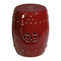 Belle & June - Oxblood Red Garden Stool - Make a striking statement in the middle of your idyll. With its rich color and splendid finish, this porcelain garden stool adds dimension to your favorite outdoor space.