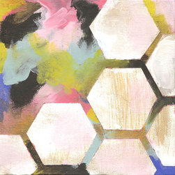 """Kristina Kraemer Art & Surface Design - Original Abstract Art Painting """"Geo 1"""" by Kristina Kraemer - Hexagons, Geometric - This is an original acrylic painting on a stretched canvas by artist and surface pattern designer Kristina Kraemer. """"Geo I"""" is the first in a series of paintings from Kristina Kraemer that explores bright colors, texture and negative space. The bold abstract shapes combined with very structured hexagons / honeycombs make it a versatile piece for both modern and traditional interiors."""