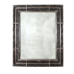 Declan Mirror - The charcoal gray and pewter mottled matte finish framing the Declan Mirror is in stark contrast to the silver reflectiveness adding visual interest to a very traditional silhouette.     The pewter lines overlaid around the frame would be beautifully enhanced when accompanied by brushed aluminum fixtures in bath or silver hardware, frames or accessories in any room of your home.