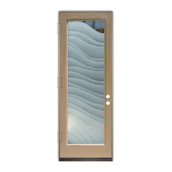 Sans Soucie Art Glass (door frame material Plastpro) - Glass Front Entry Door Sans Soucie Art Glass Dreamy Waves 2D - Sans Soucie Art Glass Front Door with Sandblast Etched Glass Design. Get the privacy you need without blocking light, thru beautiful works of etched glass art by Sans Soucie!  This glass is semi-private.  (Photo is view from outside the home or building.) Door material will be unfinished, ready for paint or stain.  Bronze Sill, Sweep and Hinges. Available in other finishes, sizes, swing directions and door materials.  Dual Pane Tempered Safety Glass.  Cleaning is the same as regular clear glass. Use glass cleaner and a soft cloth.