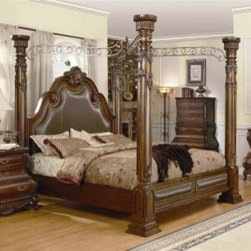 Luxury European Bedroom - Yuan Tai CA7730Q Calidonian Queen Canopy Post Bed in a Cherry Finish