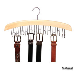 Richards Homewares - Richards Homewares Hardwood 12-belt and Accessory Hanger - Keep belts neatly organized while saving space with this wood belt hanger from Richards Homewares. This organizer features twelve hooks that can accommodate multiple belts, and has a standard garment hanger which easily hangs from any closet rod.