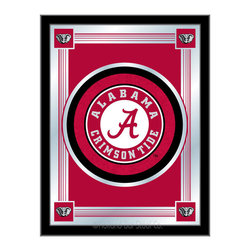 "Holland Bar Stool - Holland Bar Stool Alabama Logo Mirror - Alabama Logo Mirror belongs to College Collection by Holland Bar Stool The perfect way to show your school pride, our logo mirror displays your school's symbols with a style that fits any setting.  With it's simple but elegant design, colors burst through the 1/8"" thick glass and are highlighted by the mirrored accents.  Framed with a black, 1 1/4 wrapped wood frame with saw tooth hangers, this 17""(W) x 22""(H) mirror is ideal for your office, garage, or any room of the house.  Whether purchasing as a gift for a recent grad, sports superfan, or for yourself, you can take satisfaction knowing you're buying a mirror that is proudly Made in the USA by Holland Bar Stool Company, Holland, MI.   Mirror (1)"