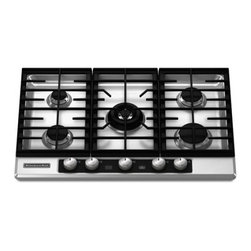 """KitchenAid - Architect Series II KFGU706VSS 30"""" Gas Cooktop  5 Burners Stainless Steel Clear - This pice is the First 30 5-burner cooktop among leading manufacturers of gas cooktops 15K BTU professional dual tier burner provides versatility for varied cooking styles - from simmering to searing"""