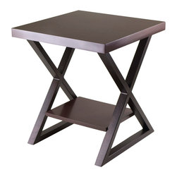 """Winsome Wood - Winsome Wood Korsa End Table w/ Dark Bronze Legs in Cappuccino - End Table w/ Dark Bronze Legs in Cappuccino belongs to Korsa Collection by Winsome Wood Korsa Table Collection adds a special look to your living room. Table comes with Veneer Top in Cappuccino and X shape metal legs in Bronze Finish. This end table assembled size is 20""""W x 20""""D x 22.17""""H. Shelf dimension 13.70""""W x 10.71""""D. Clearance from top to shelf is 14.88"""". Assembly Require. End Table (1)"""