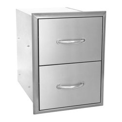 Blaze Outdoor - Blaze Double Drawer Set - Commercial grade 304 Stainless Steel construction is made for withstanding outdoor elements.