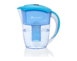 Brondell - H2O+ Water Filtration Pitcher, 6 Cup in Blue - Sleek, slim design fits perfectly in the fridge door. Easy pour handle and spill proof lid, quick-flip opening for refilling. Filter included, 2 month filter life. Choose H2O+ for better water. Imported.