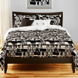 Siscovers - Scratch Black and White Six Piece Queen Duvet Set - - Flocked texture  - Set Includes: Duvet - 94x98 Two Queen Shams - 30x20 One Decorative Pillow - 16x16 One Decorative Pillow - 26x14  - Inserts: Polyester  - Duvet Material: 87% Cotton 13% Nylon  - Sham Material: 100% Polyester  - Pillow Material: 100% Polyester  - Workmanship and materials for the life of the product. SIScovers cannot be responsible for normal fabric wear sun damage or damage caused by misuse  - Reversible Duvet and Shams  - Care Instructions: Dry Clean Only  - Made in USA of Fabric made in China Siscovers - SCRA-XDUQN6