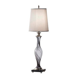 Grey Swirl Glass /Polished Nickel Lamp