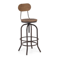 ZUO - Twin Peaks Bar Chair - Based on the adjustable mechanisms of drafters chairs in the early 1900?s. Meaning, the Twin Peaks Bar Chair allows a comfortable height for anyone. The top is solid Elmwood and the base and accents are antique metal.