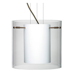 Besa Lighting - Besa Lighting 1KG-C18407 Pahu 1 Light Cable-Hung Pendant - The Pahu is a distinctive double-glass pendant, with an inner opal cylinder centered within a transparent outer glass. The clear blown glass complements the soft white Opal cased glass, which can suit any classic or modern decor. Opal has a very tranquil glow that is pleasing in appearance, as the clear glass sparkles with the accents from that glow. The smooth satin finish on the opal's outer layer is a result of an extensive etching process. This blown glass combination is handcrafted by a skilled artisan, utilizing century-old techniques passed down from generation to generation. The cable pendant fixture is equipped with three (3) 10' silver aircraft cables and 10' AWM cordset, and a low profile flat monopoint canopy.Features: