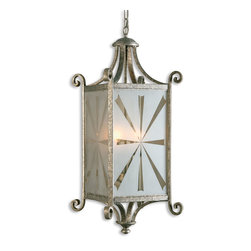 Uttermost - Lyon 4 Light Silver Lantern - Combining Warm Silver And Flowing Etched Glass, The Lyon Collection Is Reminiscent Of The Old World Art Of Metal Forging And Blown Glass. Number Of Lights: 4, Shade Size: Na, Voltage: 110, Wattage: 60w, Bulbs Included: No