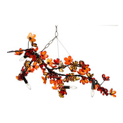 Branches Chandelier C - Hanging light, or hanging sculpture, this transitional chandelier from the Branches collection heightens the organic lushness of your home d�cor while setting its geometry just slightly, stylishly askew.  Hung on an angle, the artful wire branch is both romantic and architectural; it composes five lights and nearly countless artful flowers along its organic length, offering a versatile way to light up your room's illumination and its artistic look.
