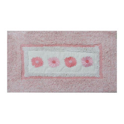 None - Embroidery Pink Daisy 21 x 34 Bath Rug - Add beauty to your bathroom with this embroidered bath rug featuring a floral design on a pink background. Made of 100-percent cotton,this rug is machine washable for easy care and repeated use.