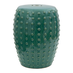 "Oriental Furniture - 18"" Blue-Green Porcelain Garden Stool - Featuring a rich teal glaze and a raised dot pattern along the sides, this handcrafted porcelain garden stool is beautiful to behold. A hot item among interior designers, this garden stool also features a weather-resistant glaze as well as an open base, making it suitable for outdoor use as well. The perfect height for a seat, plant stand, or low side table, this porcelain stool will bring a splash of lush color to any home."