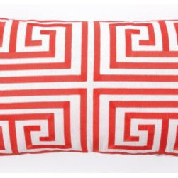 Greek Key Pillow - This oblong pillow is the perfect pillow to put out front — you know, the pillow that gets the front-and-center spot on your bed. I adore this color and pattern combination.