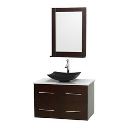 "Wyndham Collection - Centra 36"" Espresso Single Vanity, White Man-Made Stone Top, Black Granite Sink - Simplicity and elegance combine in the perfect lines of the Centra vanity by the Wyndham Collection. If cutting-edge contemporary design is your style then the Centra vanity is for you - modern, chic and built to last a lifetime. Available with green glass, pure white man-made stone, ivory marble or white carrera marble counters, with stunning vessel or undermount sink(s) and matching mirror(s). Featuring soft close door hinges, drawer glides, and meticulously finished with brushed chrome hardware. The attention to detail on this beautiful vanity is second to none."