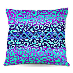DiaNoche Designs - Pillow Linen by Julia Di Sano - Leopard Trail Mint Lavender - DiaNoche Designs works with artists from around the world to create astouding and unique home decor products.  Add a little texture and style to your decor with our Woven Linen throw pillows.  The material has a smooth boxy weave.  Each pillow is machine loomed, then printed and sewn ALL IN THE USA!!!  100% smooth poly with cushy supportive pillow insert with a hidden zip closure. Dye Sublimation printing adheres the ink to the material for long life and durability. Double Sided Print, machine wash upon arrival for maximum softness. Product may vary slightly from image.