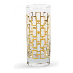 Golden Rectangle Highball Glasses - These Hollywood Regency–inspired highball glasses make a statement. Dah-ling, pour me a drink — chilled.