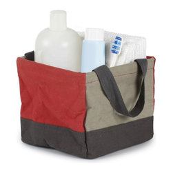 Umbra - Crunch Mini Tote, Red/Grey - Our Crunch Tote from Umbra will carry everything you need from the dorm room to hit the showers. Perfect for carrying shampoo, conditioner, toothbrush, toothpaste and other necessities. This red and gray square tote is made of 100% cotton canvas and is lined with laminated polypropylene for easy wipe and clean.