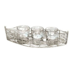 Rojo 16 Costa Brava Iron Boat with 3 Mercury Glass Votives - About Rojo 16Style and grace is what you'll find in Rojo 16 candles, candle holders, and other décor items. From inspiration found all over the globe, Rojo 16 crafts fine candles and all the ambience they bring. Look to these items when you want to add a bit of drama and flair to any spot in your home.