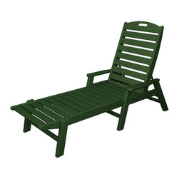 Polywood - Eco-friendly Chaise with Arms in Green - The Nautical Collection offers many different chair styles along with tables in both traditional and taller heights. This collection will remain in shipshape for many years to come. You don't have to be on a luxury yacht to enjoy the comfort of the roomy Polywood Nautical Chaise with Arms. It's provides just as much relaxation on your deck or patio.