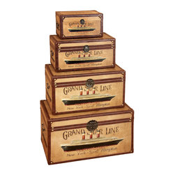 ecWorld - Grand Star Line Transatlantic Wooden Trunk Chest (Set of 4) - This Grand Star Line Transatlantic Wood Trunk set will enhance the elegance of any room in your home. This 4-piece trunk set is an excellent decorative accessory.