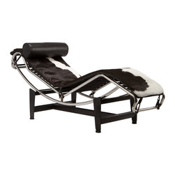 Chaise Lounge Chair in Black & White Hide - There's no better place to take a break than on this modern take on the traditional French chaise lounge. Whether you're sitting upright or completely reclined, the luxe lounger ups the appeal of any room you're in and instantly makes you feel like an heiress or high-powered executive.