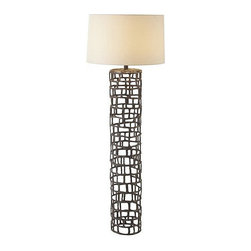 Arteriors Home - Arteriors Home Hansel Natural Iron Floor Lamp - Arteriors Home 73121-899 - Arteriors Home 73121-899 - Tall cylinder shaped iron floor lamp with interlocking open rectangles to create a geometric cage-like pillar.