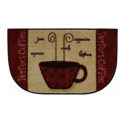 Mohawk Home - Mohawk New Wave Perfect Coffee A Cranberry Country Kitchen 1'6 x 2'6 Rug (10811) - Coffee lovers unite!  This whimsical rug is perfect gift for the coffee lover in your life.  A great addition to any kitchen that will provide cushion for you