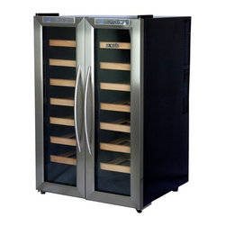 New Air - 32 Bottle Dual Zone Thermoelectric Wine Coole - Digital temperature display. Dual temperature zones. Vibration free thermoelectric cooling technology. Wooden pull out shelving. Contemporary styling. See-thru glass door. 14 wine racks. Freestanding design. . 31 in. L x 22 in. W x 21 in. H (69 lbs)Get compact, flexible storage for your wine collection with the NewAir AW-321ED dual zone wine cooler. This attractive unit stores up to 32 bottles of wine, and features side-by-side compartments with dual zone controls so you can keep both white and red wines at their ideal temperatures.
