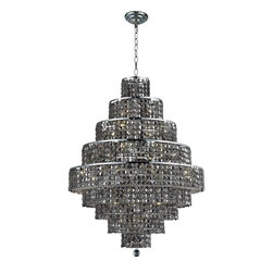 "PWG Lighting / Lighting By Pecaso - Chantal 20-Light 30"" Crystal Chandelier 1734D30C-SS-SS - The unique design of the Chantal Collection inspires any room setting. Dazzling spectacles of light sparkles throughout the fixture creating a modern, yet timeless beauty and elegance."
