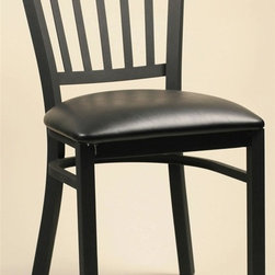 Alston - Metal Side Chairs With Upholstered Seats & Fl - Fabric: Blue Ridge* Metal frame. Vertical slat back. Black matte finish. Works well at home or in restaurants, bars and hotels. Clean with mild soap and water. Includes 2 chairs. 17.25 in. W x 16.75 in. D x 32 in. H