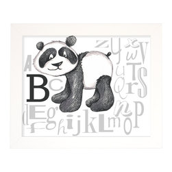 "Doodlefish - Panda Bear Alphabet - Learning can be fun with the play on typography that incorporates an adorable panda bear that represents the ""B"". Hang alone or pair with other letters from the alphabet for colorful and educational wall art. The artwork is a high quality giclee print that is finished in a sleek, flat white frame. The original artwork was created by Regina Nouvel. The finished size of the artwork is 16"" wide x 13"" tall. The artwork is created and produced in the USA."
