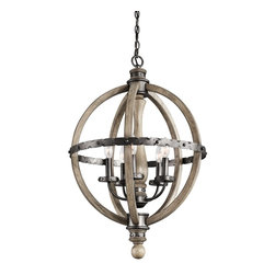 Kichler Lighting - Kichler Lighting KCH-43324-DAG Evan Traditional Classic Chandelier - Distressed woods. Hammered metals. Endless charm. With this 3 light chandelier from the Evan™ collection, you will effortlessly elevate and enhance any space in your home. The center column grounds each piece with a furniture-style shape, and the light wood tones coordinate with a rich Distressed Antique Gray Wood finish and Anvil Iron detailing.