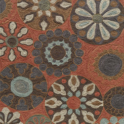 "Summit SUM-3 Terra Cotton Rug - 5'x7'6"" - Inspired by its surroundings, Summit is a casual collection of hand-hooked rugs in bold floral and ethnic patterns. Made of 100% polyester."