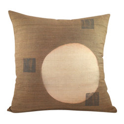 BZDesign - Light Brown Hand Block Printed Silk Pillow - This simply elegant silk pillow will easily fit into any contemporary setting!