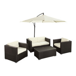 Modway - Concord Espresso White 5-piece Outdoor Patio Sofa Set - 'Concord' is comprised of UV-resistant rattan,a powder-coated aluminum frame and all-weather cushions. The set is perfect for cafes,restaurants,patios,pool areas,hotels,resorts and other outdoor spaces.