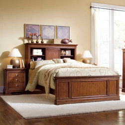 American Drew - American Drew Classics 3 Piece Bookcase Bedroom Set in Brown Cherry - The Classics Collection from American Drew is a clean, traditional group with Louis Phillipe design influences such as heavy moldings and bases with broad pilasters. The design of the American Drew Classics collection lends itself to fit into many bedroom settings and the scale works great for second bedrooms or even smaller master bedrooms. - 816-935-955-BCB-3-SET.  Product features: Louis Phillipe design; Heavy moldings and bases with broad pilasters; American Poplar and Cherry Veneer; Brown Cherry finish; 3 Openings with 1 Sliding Door; Center Opening has Cork Back Panel; Left Opening has 3 Outlet Box w/1 USB Port, 1 Phone Jack, 1 Data Port & Lid; Outside Opening: W18 D10 H17 1/2; Center Compartment: W16 D9 1/2 H17 1/2; Center Compartment: W16 D9 1/2 H17 1/2. Product includes: Bookcase Bed (1); Nightstand (2). 3 Piece Bookcase Bedroom Set in Brown Cherry belongs to Classics Collection by American Drew.