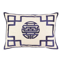 DL Rhein - DL Rhein Double Happiness Navy Embroidered Pillow - This embroidered Double Happiness pillow in a bright cobalt blue brings in positive thoughts and energy all year-round.