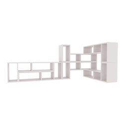 Temahome - Domino 7 Shelving Unit - Domino is modular furniture stripped to its essential, as it is as easy as it seems to play with this system. Stack each unit vertically or horizontally depending on the space you have and the type of combination you wish to build.  The Domino can be used as a shelf against a wall, as an entertainment system for your tv, or as an accent that can be wrapped around a couch.