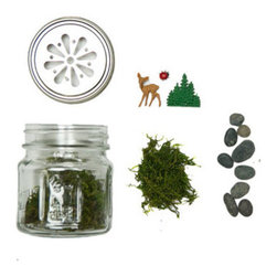 Woodland Terrarium Kit - Want to escape the city without actually leaving home? Our DIY terrarium will bring you woodland tranquility without the poison ivy. This kit includes a mason jar, pebbles, moss, and tiny vintage German toys. Add your own soil and plants to complete this fun conversation piece���green thumb not required!