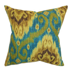 "The Pillow Collection - Deandre Ikat Pillow Peacock 18"" x 18"" - Transform your room from boring to eclectic with this ikat throw pillow. Provide a comfy feel to your sofa, bed or seat with this unique decor pillow. The ikat print pattern comes in shades of green, blue, yellow and brown. This square pillow can be styled with solids and other patterns. Made from 100% soft cotton fabric. Hidden zipper closure for easy cover removal.  Knife edge finish on all four sides.  Reversible pillow with the same fabric on the back side.  Spot cleaning suggested."