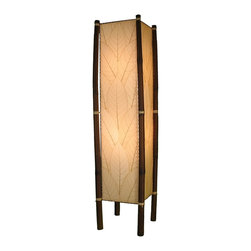 "Lamps Plus - Asian Eangee Fortune Natural Cocoa Leaves Tower Floor Lamp - The striking shade of this floor lamp is made of cocoa leaves that have been put through a labor-intensive process of fossilization. The leaves are then stained in organic dyes and sealed. The wrought iron frame is powder coated and the legs are made of real bamboo which is hand-stained and bound with twine. A distinctive addition to any decor. Powder coat finish. Wrought iron frame. Fossilized cocoa leaf shade. Takes two 40 watt bulbs (not included). On-off foot switch. 11"" wide. 48"" high.  Powder coat finish.   Wrought iron frame.   Fossilized cocoa leaf shade.   Takes two 40 watt bulbs (not included).   On-off foot switch.   11"" wide.   48"" high."