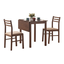 Monarch Specialties - Monarch Specialties 3 Piece Dining Set in Walnut - This casual three piece dining set offers classic styling that will blend with any decor. The table features a solid-top drop leaf, straight edges and sleek square legs. The armless side chairs feature a ladder back design with padded upholstered seating for comfort. The clean lines of this set paired with a warm walnut finish, will help create a timeless look that you and your family will love. What's included: Table (1), Chairs (2).