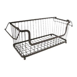 InterDesign York Lyra Open Basket, Bronze - Stylish storage for a multitude of items, this black wire basket can easily make its home in an office, a bathroom or even a master walk-in closet.