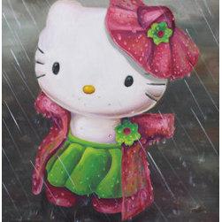 "Hello Kitty In The Rain (Original) by Sandra Fremgen - ""Hello Kitty in the Rain"" an Oil Painting by Sandra Fremgen"